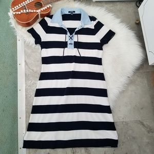 Chaps Dresses - Chaps Nautical Striped Collared Shirt Dress XL